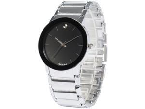 Timebear SNB084 Mens Quartz Watch, Simple, Analog,Black Dial, Stainless Steel Band