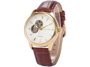KS Mens KS296 Analog Skeleton Dial Brown Leather Band Automatic Mechanical Watch