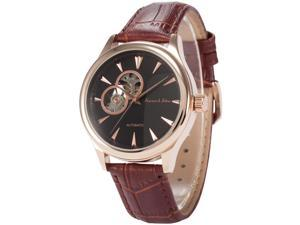 KS Mens KS299 Analog Skeleton Dial Brown Leather Band Automatic Mechanical Watch