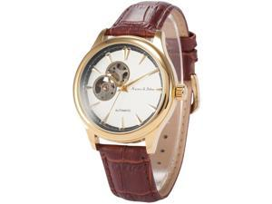 KS Mens KS301 Analog Skeleton Dial Brown Leather Band Automatic Mechanical Watch