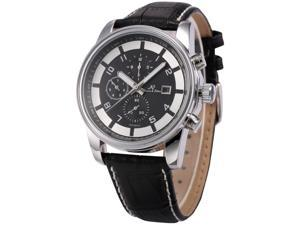 KS Mens KS179 Analog Black Leather Band Day Date Month Display Automatic Mechanical Watch