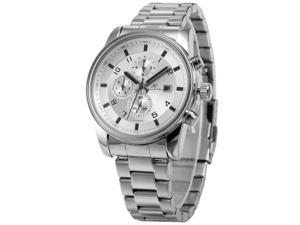KS Mens KS180 Analog Silver Steel Band Day Date Month Display Automatic Mechanical Watch