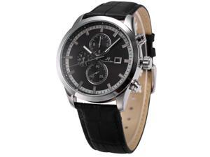 KS Mens KS197 Analog Black Leather Band Day Date Month Display Automatic Mechanical Watch