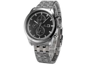 KS Mens KS201 Analog Silver Steel Band Day Date Month Display Automatic Mechanical Watch
