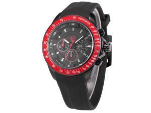 Shark Mens SH280 Analog Black Silicon Band Chronograph 24H Display Quartz Watch