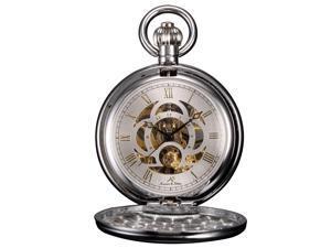 KS Unisex KSP010 Full Hunter Skeleton Dial Mechanical Pocket Watch