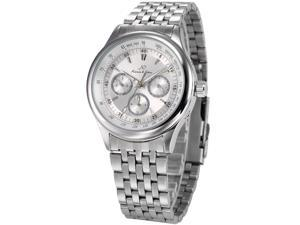 KS Mens Automatic Mechanical Date Day Silver Stainless Steel Band Wrist Watch KS211