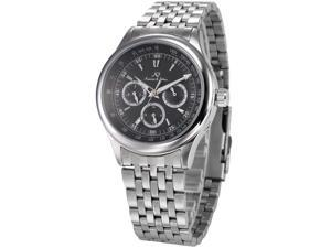 KS Mens Automatic Mechanical Date Day Silver Stainless Steel Band Wrist Watch KS212