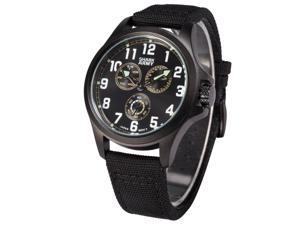 Shark Army Mens Quartz 6 Hands Sport Black Nylon Band Wrist Watch SWA129
