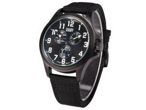 Shark Army Mens Quartz 6 Hands Sport Black Nylon Band Wrist Watch SWA130