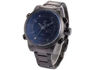 Shark SH343 Men's Quartz Wrist Watch - Analog LCD Date Day, Black Stainless Steel Band