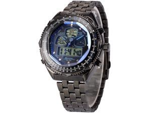 Shark Eightgill SH306 Mens Sport Watch LCD Multifunction Analog Quartz Black Stainless Steel Band