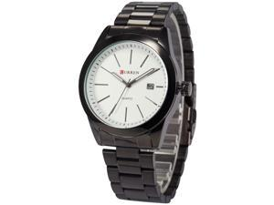 Timebear Mens CUR097 Black Stainless Steel Band Simple Quartz Watch