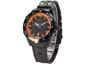 Agent X Mens AGX106 Black Stainless Steel Band Day Date Display Quartz Watch