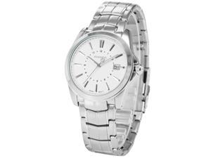 Agent X Mens AGX109 Analog Date Display Silver Steel Band Quartz Watch