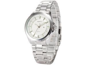 Agent X Mens AGX127 Analog Date Display Silver Steel Band Quartz Watch