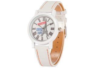 Timebear PHN006, Unisex Quartz Watch, White Dial, Tower, Analog, Synthetic Leather Band
