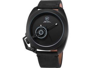Shark Mens SH284 Quartz 3D Black Dial Chronograph 24-hour Display Silver Steel Wrist Watch