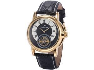 KS Mens Wrist Watch Elegant KS370 Self-winding Mechanical Day/ Date Month/Year Display Leather Band Blue