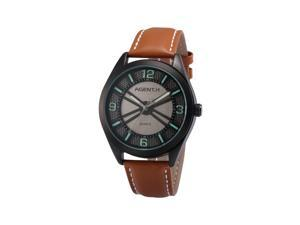 Agent X Mens AGX143 Japanese Quartz Analog Black Dial Brown Leather Wrist Watch