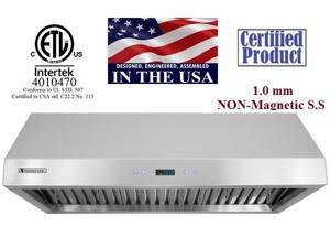 "XtremeAir PX11-U30, 30"", 900 CFM, LED Lights, Baffle Filter W/ Grease Drain Tunnel, 1.0mm Non-Magnetic Stainless Steel,  Under Cabinet Mount Range Hood"