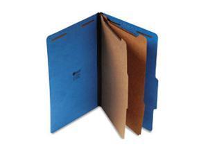 Pressboard Classification Folders, Legal, Six-Section, Cobalt Blue, 10/Box