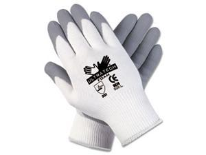 Crews 9674L Ultra Tech Foam Seamless Nylon Knit Gloves, Large, White/Gray