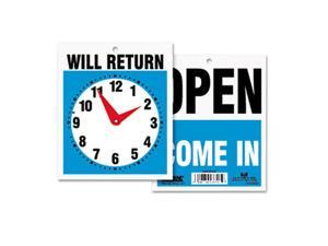 Double-Sided Open/Will Return Sign w/Clock Hands, Plastic, 7-1/2 x 9