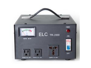 ELC TR-2000 2000 Watt Voltage Regulator with Transformer - Step Up/Down - 110V/220V - Circuit Breaker Protection