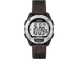 Timex Expedition Full Pusher CAT Digital Watch - Silver Dial/Brown Leather Strap (T49948)