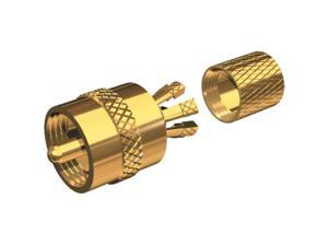SHAKESPEARE SHA-PL-259-CP-G Gold Plated Centerpin Solderless PL-259 Connector, MFG# PL-259-CP-G, for RG-8X or RG-58/AU coax cable