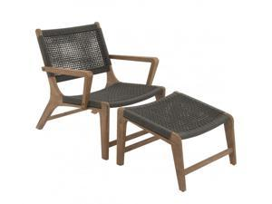 BENZARA 73116 Comfortable Set Of Two Wood Rope Outdoor Chair With Footrest