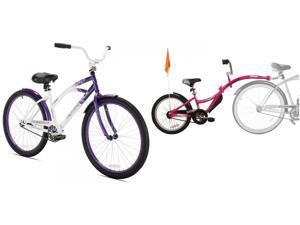 KENT BICYCLES BDL#4771948966 Kent Rockvale Womens Cruiser Bike, 26-Inch Bundle with WeeRide Co Pilot Tagalong Trailer Bike - Pink, 20 Inch