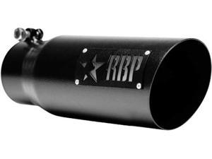 ROLLING BIG POWER RBP35454-7 EXHAUST TIP - 3.5IN X 4.5IN X 12IN SS HEAT TREATED BLACK COATING W/ LASER CUT LO