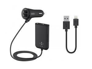 BELKIN BDL#9325752414 Belkin Road Rockstar with 4 USB Ports for Front and Backseat Charging 7.2A/36W WITH Bundle with Belkin Lightning to USB ChargeSync Cable for iPhone 7 / 7 Plus, iPhone 6S / 6S Plu