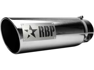 ROLLING BIG POWER RBP56002-D EXHAUST TIP - 5IN X 6IN X 18IN DUALS SS W/ LASER CUT TWO-TONE LOGO(DRIVER SIDE)