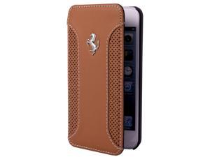 CG Mobile Ferrari Brown Leather Book Flap Case iPhone 5 / 5S FEF12FLBKP5CA