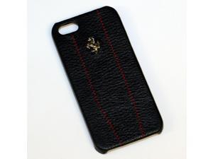 Ferrari iPhone 5 / 5S Black Leather & Stitching Case CG Mobile New FEMO5MBLR