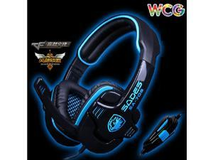 2014 SADES SA-708 Blue Light Gaming Headsets Gaming Headphone & Microphone for RAZER GMAER MSN SKYPE LIVE CHAT
