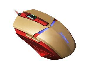 SunSonny T-M30 Iron Man 3 Optical Wired USB Gaming Mouse - 1800DPI 6D 6 Buttons X3 for Gamer PC Laptops - Gold