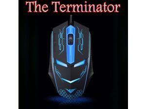 RAJFOO The Terminator 1600DPI 6D Optical Wired Usb Gaming Mouse for Gamer PC Laptop Home Office User - Ergonomic Design - Comfortable Matte Finished - Cool LEDs