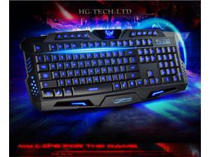 Three Color Backlight M200 Multimedia Ergonomic Gaming Keyboard Blue/Red/Purple