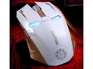 WHITE NAFFEE Iron Man G5 2.4GHz Wireless 2400DPI 6D 6 Buttons Optical Usb Dongle Cordless Gaming Mouse - with Silence Buttons - High-Precision - No Light Sensor plus Auto Sleep Function
