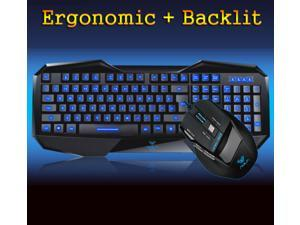 Aula BEFIRE Blue-Ray Backlit Gaming Keyboard + 7D 2000DPI Usb Gaming Mouse SET