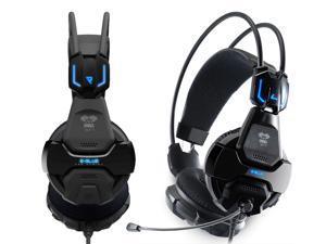 E-3LUE COBRA HS707 Blue Light Gaming Headphone Headsets & Microphone for Gamer MSN Skype Facebook YouTube