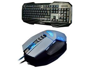 Ajazz LED Illuminated Ergonomic USB Wired Multimedia Blue Backlight Backlit Gaming Keyboard + 4000DPI 8D Ajazz Griffin 8 Buttons X4 Optical Usb Professional Gaming Mouse Set