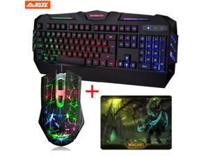 2016 X-Lighting XS550+ Rainbow Backlit Multimedia Ergonomic Usb Gaming Keyboard +Ajazz 2400DPI The Dark Knight Rainbow LED 6 Buttons Usb Gaming Mouse +WOW The Lich King Gaming Mouse Pad SET