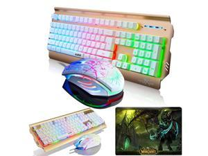 UrChoiceLtd® 2016 Ajazz Battle Axe Colorful Rainbow Backlit Multimedia Ergonomic Usb Gaming Keyboard + 2400DPI 6 Buttons Gaming Mouse + WOW Black Temple Mousepad
