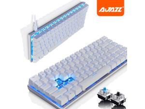 UrChoiceLtd® Ajazz Geek AK33 Backlit Usb Wired Gaming Mechanical Keyboard Blue Black Switches for Office, Typists and Play Games ( Blue Switch,White )