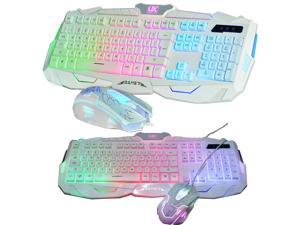 UThink Rainbow Backlight V100 Ergonomic Gaming Keyboard + 6 Buttons Gaming Mouse